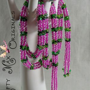 Pink and Green Beadwoven Necklace – Creations Color Challenge