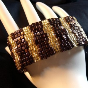 Rainbow Maroon Cubes and a Sparkling of Gold Bracelet