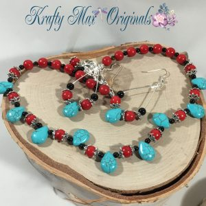 Red and Turquoise Magnisite Drop Necklace Set
