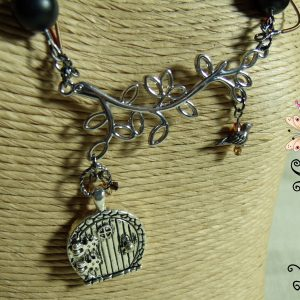 Secret Door (for a Secret Message) Eclectic Necklace with a Bird