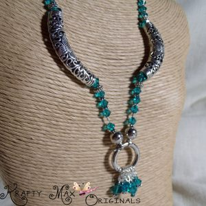 Teal Swarovski Crystals and Beautiful Sterling Silver Necklace Set