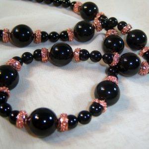 Black Swarovski Pearls and Copper Elegance Set