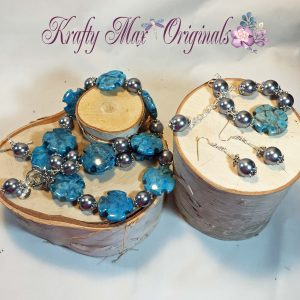 Blue Magnesite Cross and Silver Pearls 3 Piece Set