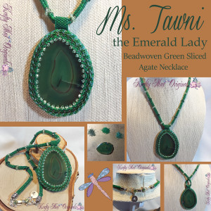 Ms. Tawni the Emerald Lady – Beadwoven Green Sliced Agate Necklace