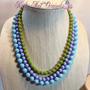 Blue Purple Green Triple Strand Beauty Necklace Set