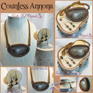 Countess Annona – Brown Agate Slice Beadwoven Necklace and Earrings Set