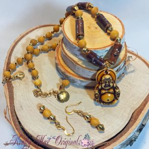 Bone Buddha with Ceramic and Yellow Turquoise Beads Necklace Set