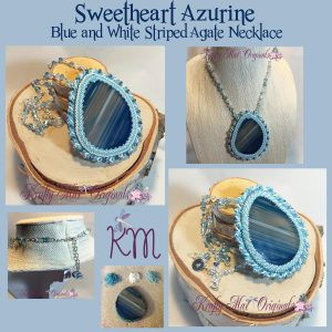 Sweetheart Azurine Blue and White Striped Agate and Swarovski Crystal Beadwoven Necklace