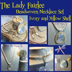The Lady Fairlee – Ivory and Yellow Shell Beadwoven Necklace Set