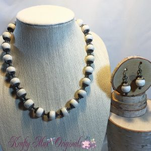Soft White and Gunmetal Simplicity Necklace Set