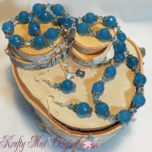 Blue Quartz, Swarovski Crystals and Elegance in Simplicity Necklace Set