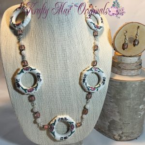Ceramic Rings and Beautiful Pink and White Necklace Set