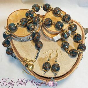 Fine Blue Copper Turquoise and Swarovski Crystal and Gold Necklace