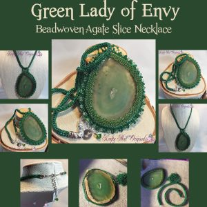 The Green Lady of Envy – Handmade Beadwoven Agate Slice Necklace