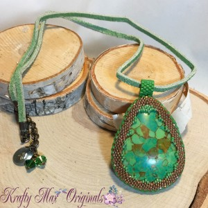 Green Moziac Turquoise and Bronze Beadwoven Necklace
