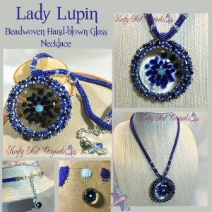 Lady Lupin – Handmade Beadwoven Necklace with Hand-Blown Glass by Up Novelty Glass