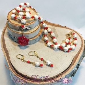Red Coral Rose and Beautiful Magnesite Necklace Set