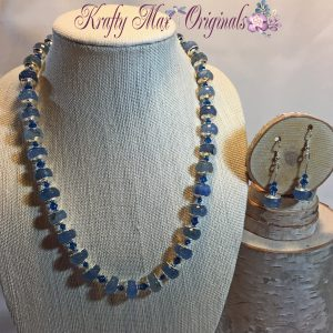Blue Quarts and Swarovski Crystals Necklace and Earrings Set