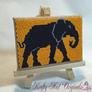Elephant ACEO Mini Beadwoven Artwork with Stand