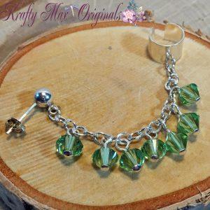 GREEN Swarovski Crystal Dangling Sterling Silver Ear Cuff