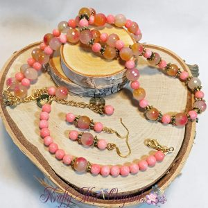 Rose Green Malaysia Jade 3 Piece – Necklace Bracelet and Earrings Set