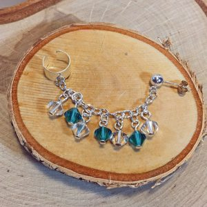 Teal and Clear Swarovski Crystal Dangling Sterling Silver Ear Cuff