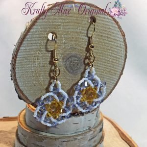 Yellow and Purple with White Beadwoven Flower Earrings