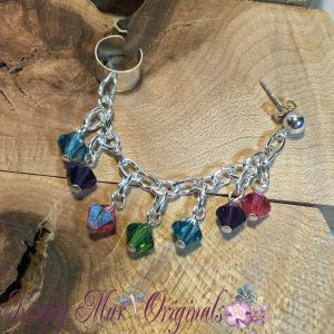 Pink Blue Green Purple – Sterling Silver Swarovski Crystals Earcuff/Earring