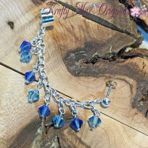Shades of Blue Sterling Silver Swarovski Crystals Earcuff/Earring