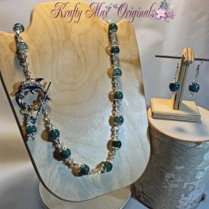 Blue Green Sea of the Dolphin Gemstone and Swarovski Crystal Necklace Set