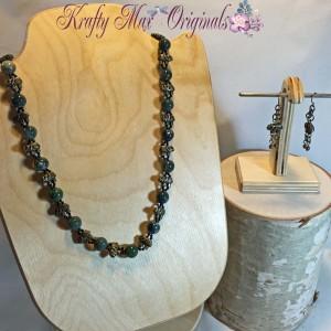 Elephants and Green Gemstone Mixed Up Necklace Set