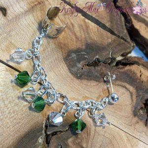Green and Clear Sterling Silver Swarovski Crystals Earcuff/Earring