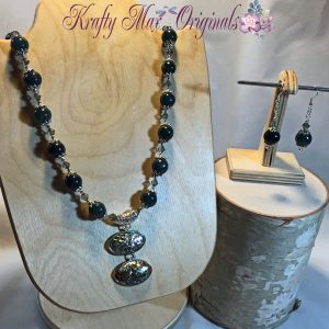 Shell and Green Gemstones with Swarovski Crystals from Grandmother's Stash Necklace Set