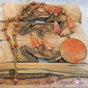 Peach Vintage Necklace Set with Swarovski Crystals and Gold Plated Findings from Grandmother's Stash!
