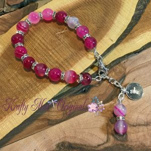 Pink Gemstones and Swarovski Crystal Roundels Bracelet