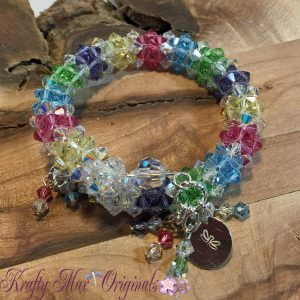 Spring Swarovski Crystal Beadwoven Silver Plated Spring-wire Bracelet