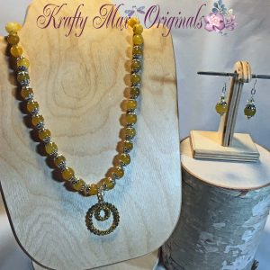 Yellow Necklace Set with Gemstones and Swarovski Crystals from Grandmother's Stash!