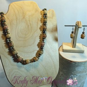Brown Earthtone Gemstone and Antique Gold Necklace Set