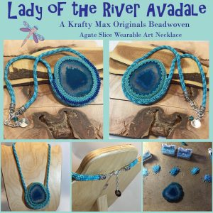 Lady of the River Avadale – Beadwoven Agate Slice – Wearable Art Neckalce