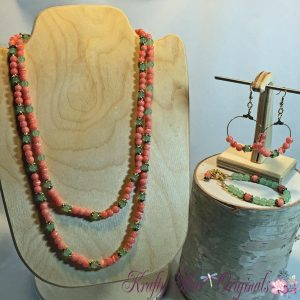 LONG Orange and Green Strand Necklace with Matching Bracelet and Earrings Set