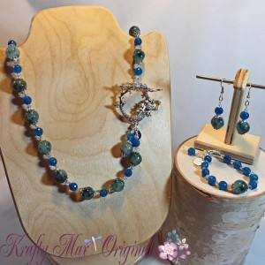 Teal and Blue Gemstones with Mermaid Silver Plated Clasp