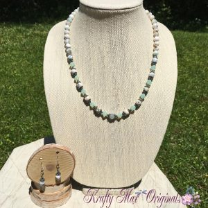 Aqua Faceted Gemstone and Swarovski Crystal Necklace Set