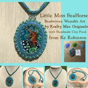 Little Miss Seahorse Beadwoven Necklace with Ke Robinson