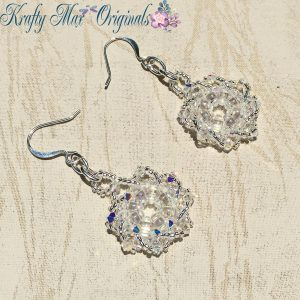 Clear Icy Beadwoven Earrings