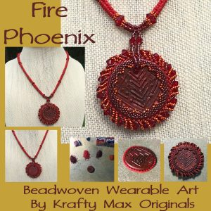 Fire Phoenix Beadwoven Necklace for Tribes Competition Challenge from Allegory Gallery