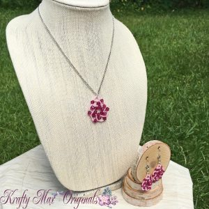Pink on Pink Spiral Beadwoven Necklace Set