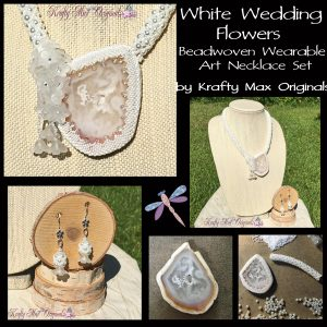 White Wedding Flowers Beadwoven Wearable Art Necklace Set