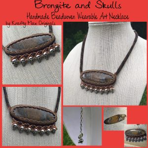 Bronzite and Skulls Handmade Wearable Art Necklace