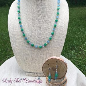 Green and Blue Semi Precious Gemstones with Swarovski Crystals Necklace Set