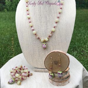 Pink and Green with Owls and Swarovski Crystals – 3 Piece Necklace Set